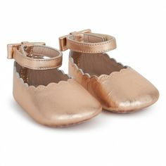 Chloe Metallic Rose Crib Shoes