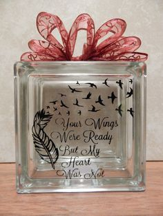 memorial glass block with lights, your wings were ready my heart was not, free bird, feather, memorial, lighted glass block