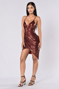 Sequin Weekend Dress - Burgundy