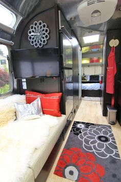 A View of the Airstream inside facing the bedroom