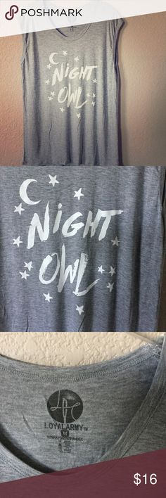 """""""Night Owl"""" super comfy tee! Very light and roomy for extra comfort!  Bust 46"""", length 29"""".  NWOT! Loyal Army Tops Tees - Short Sleeve"""