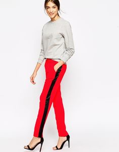 American Retro Orange Trousers With Black Contrast Racer Stripe