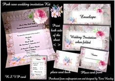 This is a beautiful full set of wedding stationary, has the invite sheet where you print or write your invitation words, The RSVP card to send with it, your name place cards for the reception, plus a matching envelope, but if you dont want to make the envelope the invite will fit in any nice DL sized envelope. saves so much money, that can be spent on other things, Enjoy.