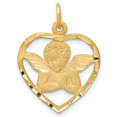 ApplesofGold.com - 14K Gold Angel Heart Necklace Pendant Jewelry $149.00 Christian Jewelry, Gold Price, Heart Pendant Necklace, Pendant Jewelry, Selling Jewelry, Satin, Heart Charm, Heart Shapes, Gifts For Women