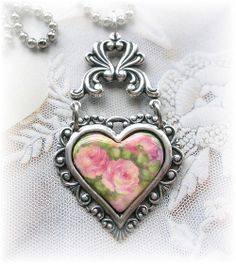 Victorian Style Heart Pendant Shabby Chic Roses by TheVintageHeart ...