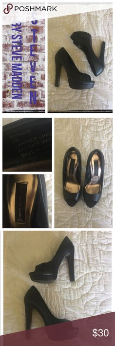 Steven by Steve Madden blk OT platform pumps Gently worn; normal wear on soles. EUC.                      ❇️ Reasonable Offers Only Please ❇️ Smoke and pet free ❇️ If this is a bundle, I WILL NOT break it up and sell    separately ❇️ I do not model anything; I will provide measurements if needed.  ❇️ Please do not hesitate to ask questions, 👍.         ❇️ NO HOLDS, NO TRADES, POSH RULES ONLY! Steve Madden Shoes Platforms