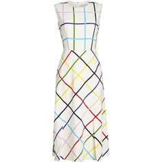 Mary Katrantzou Printed Midi Dress (4.945 BRL) ❤ liked on Polyvore featuring dresses, white, mary katrantzou dress, calf length dresses, colorful dresses, shiny dress and white embellished dress