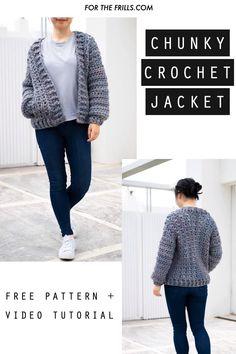 Crochet Baby Cardigan Free Pattern, Cardigan Au Crochet, Sweater Knitting Patterns, Crochet Shawl, Diy Crochet Jacket, Simple Knitting Patterns, Shrug Pattern, Chunky Cardigan, Crochet Sweaters