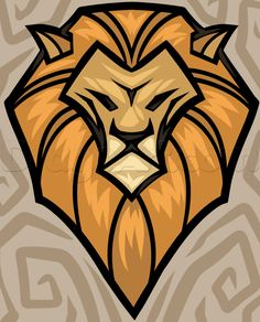 Cartoon Lion Face Roaring Simple Illustration Of Lion Art