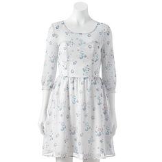 LC Lauren Conrad Floral Chiffon Fit & Flare Dress - Women's