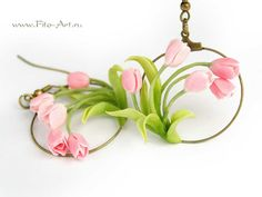 Decorations: Spring earrings with pink tulips - Fito Art