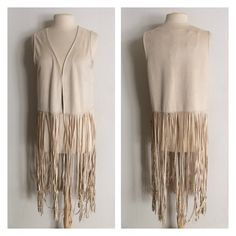 """Steve Madden boho fringe vest Steve Madden faux suede fringe vest. Super boho chic! Size is OSFM- I would say S-XL would fit this. 93% polyester/ 7% spandex. Total length is 44"""" (vest is 15"""" and fringe is 29""""). This has a slightly pilled look to it- it was manufactured that way and is not damaged. I would call the color a light creamNo trades I am very open to fair offers! Steve Madden Jackets & Coats Vests"""