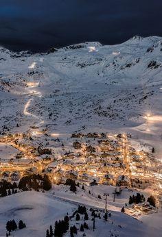 Mountain village sky night beautiful lights winter cool mountains snow homes