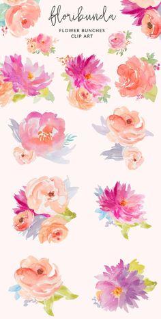 Floribunda watercolor floral clip art flower illustrations