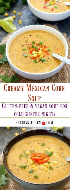 Craving soup tonight? Thick and creamy Veggie Mexican corn soup is a perfect nourishing option for cold winter nights. A  hearty, comforting soup that is packed with flavor and amazingly delicious! #vegan #glutenfree #soup #delicious #healthy #dinnertime