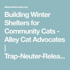 Building Winter Shelters for Community Cats - Alley Cat Advocates   Trap-Neuter-Release and Volunteer Services for Greater Louisville, KY