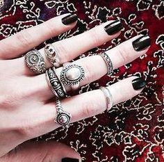 love pretty cute jewelry beautiful hippie vintage inspiration boho indie ring Grunge silver Magic retro bohemian accessories rings gypsy mystical boho style gypset midi rings midi ring