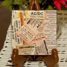 Cool display of concert ticket stubs.