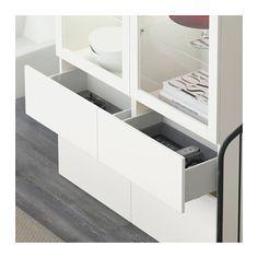 BESTÅ Combinaison rangement ptes vitrées - Lappviken/Sindvik blanc verre transparent, glissière tiroir, ouv par pression - IKEA