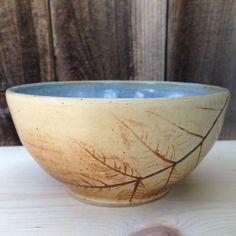 Large Ceramic Bowl  Cream and Blue  Leaf Imprint  by CoraCeramics