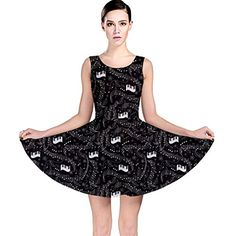 d8f0be6255 CowCow Black Beautiful Musical Pattern with Notes and Piano Keyboard Skater  Dress Black2XL    To