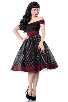 - Knee-length Rockabilly Polka Dot Satin Dress made of good quality fabric - red contrast panel at shoulders, seam and waist - buttons at waist - side Pin Up Outfits, Pin Up Dresses, Retro Outfits, Vintage Outfits, Fashion Dresses, Mode Rockabilly, Rockabilly Fashion, Retro Fashion, Vintage Fashion