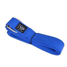 Cotton Yoga Strap Blue With Metal Ring Buckle