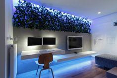 meuble TV blanc de design épuré et à LED bleu dans le salon avec déco murale en plantes