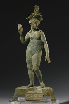 A Roman Bronze Figure of Isis-Aphrodite, Syria, Circa Century A. Height with base 10 in. I Sotheby's Ancient Goddesses, Greek Gods And Goddesses, Roman Artifacts, Ancient Artifacts, Roman Sculpture, Sculpture Art, Ancient Rome, Ancient History, Sculpture Romaine