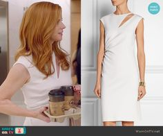 Donna's white cutout dress on Suits.  Outfit Details: http://wornontv.net/50208/ #Suits