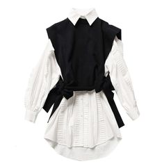 Spring fashion women clothes round neck sleeves knits vest turn-down collar ruffles single breasted dress 55.16 CAD Womens Dress Suits, Long Shirt Dress, Ruffle Shirt, Black Vest, Knit Vest, Vest Jacket, White Long Sleeve, Spring Fashion, Ideias Fashion