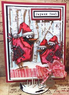 The Artful Maven: Three Cardinals Christmas Card made with Tim Holtz's Bird Crazy Stamps and Dies. Crazy Bird, Crazy Dog, Crazy Cats, Christmas Cards To Make, Xmas Cards, Handmade Christmas, Holiday Cards, Weird Holidays, Tim Holtz Stamps