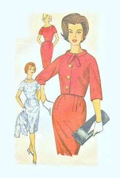 60s UNCUT Vintage Dress Jacket Sewing Pattern - Simplicity 4036, Size 14, Bust 34 - Str8 Skirt, Raglan Sleeves, Tie Collar, Front Buttons Simplicity Sewing Patterns, Vintage Sewing Patterns, Owning A Cat, Miss Dress, Studio S, Top Stitching, Fashion Plates, Jacket Dress, Vintage Dresses