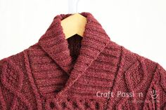 Get free knitting pattern of stylish & luxury Shawl Collar Cable Pullover. Sizes: 48 and 52 inch chest measurements, suit both men & women. Leaf Knitting Pattern, Knit Vest Pattern, Sweater Knitting Patterns, Free Knitting, Knitting Ideas, Knitting Projects, Crocheting Patterns, Mens Shawl Collar Sweater, Mens Cable Knit Sweater