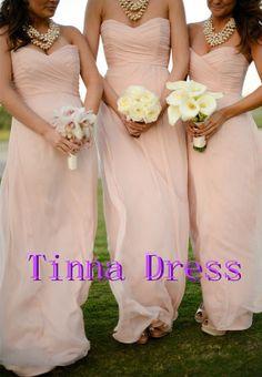 Beautiful Pale pink Bridesmaid dress  long by TinnaDress on Etsy, $98.00