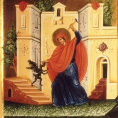 Marina Humiliating the Devil - An icon of St. Marina of Antioch, also called Pelagia, (feast on July and in the West known as St. Margaret of Antioch (July Religious Images, Religious Icons, Religious Art, Byzantine Icons, Byzantine Art, Catholic Saints, Patron Saints, Saint Martha, Pray For Strength