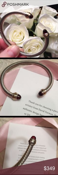 David Yurman garnet 5mm DY hallmark 925 585 18k gold cuffs size medium cable bangle .  Signature pouch included and this is in gift condition and has been professionally polished. David Yurman Jewelry Bracelets