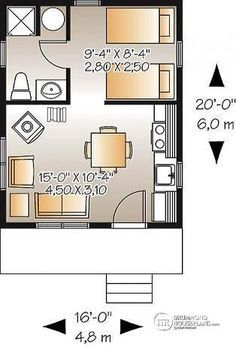 Style House Plan 76163 with 1 Bed, 1 Bath Cute, could be easily added too. - First Floor Plan of Cabin House Plan could be easily added too. - First Floor Plan of Cabin House Plan 76163 Cottage Style House Plans, Cabin House Plans, Cottage Style Homes, Cottage Design, Small House Plans, House Floor Plans, Studio Floor Plans, Cottage Plan, Tiny House Layout