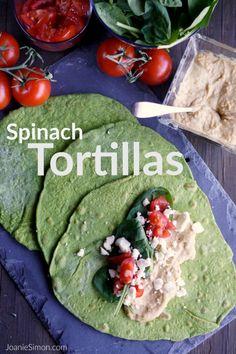 Vitamix Recipe - Homemade Spinach Tortillas - an easy recipe for the best homemade flour tortillas with a splash of vibrant green spinach