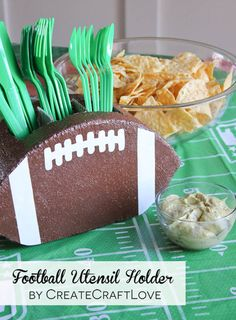 I whipped up this fun Football Utensil Holder just in time for the Super Bowl! via createcraftlove.com