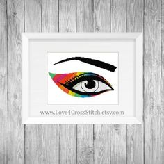 Rainbow Eye Cross Stitch Pattern Modern, PDF Pattern, Eye Cross Stitch, Abstract Eye Cross Stitch, R