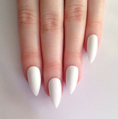 Matte White Stiletto nails Nail designs Nail by prettylittlepolish