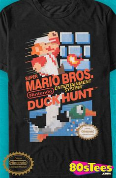 """Super Mario Bros and Duck Hunt T-Shirt: Nintendo Mens T-Shirt  """"Gamer"""" Geeks:  Mario made gaming history and became """"super"""" popular! The best design, technology and the cartridge art  gave new meaning to video games."""