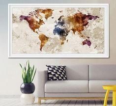 World map wall art, World map poster, world map art, world map painting, world…