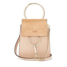 Chloé Faye mini suede-panel leather cross-body bag (3 005 PLN) ❤ liked on Polyvore featuring bags, handbags, shoulder bags, light pink, chloe handbags, leather shoulder bag, crossbody purse, mini shoulder bag and chain crossbody