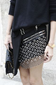 We're loving this chain mail mini-kilt #PFW WGSN street shot, Paris Fashion Week, spring/summer 2014