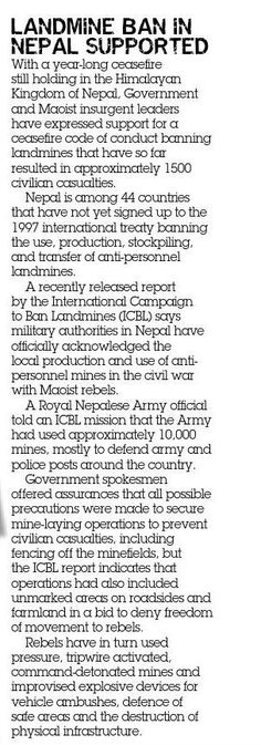 Landmine ban in Nepal supported. From CONTACT issue 1, March 2004