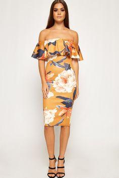98a6b329e72e Monica Floral Layered Off Shoulder Bodycon Dress. WearAll