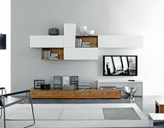 Livitalia Wohnwand Modern Solid Wood TV Wall – White & Parawood – Natural Look and Feel FGF Mobili Massivholz TV Lowboard B 240 cm x H 22 cm - Add Modern To Your Life Living Room Tv, Home And Living, Living Room Furniture, Modern Tv Wall, Tv Wall Decor, Tv Unit Design, Living Room Designs, Furniture Design, Modern Furniture