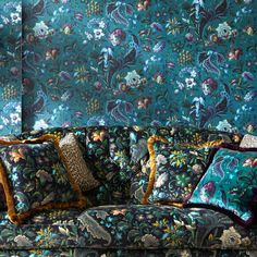 Florika by House Of Hackney - Petrol : Wallpaper Direct Print Wallpaper, Pattern Wallpaper, Eclectic Wallpaper, Peacock Wallpaper, Chinoiserie Wallpaper, House Of Hackney Wallpaper, Jewel Colors, Colours, Fabric Houses
